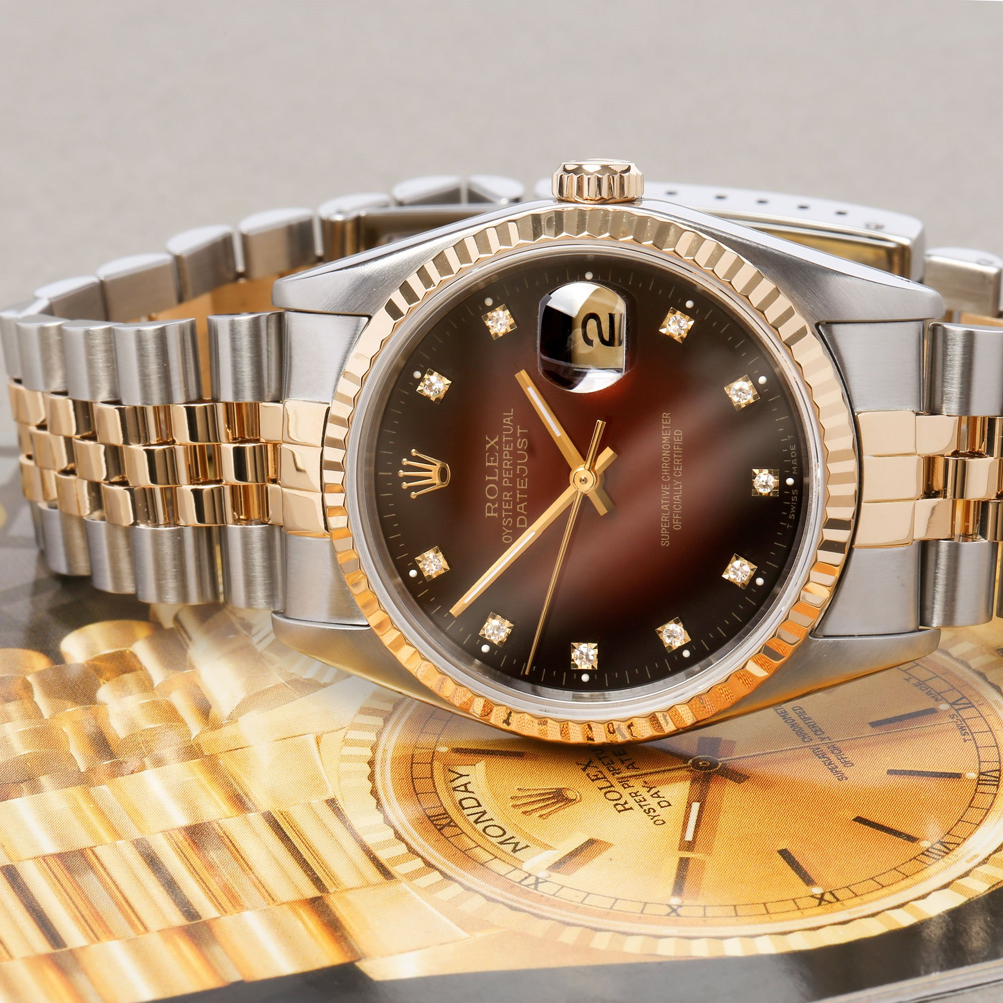 Rolex Datejust 36 'Vignette' Dial 18K Yellow Gold & Stainless Steel 16233