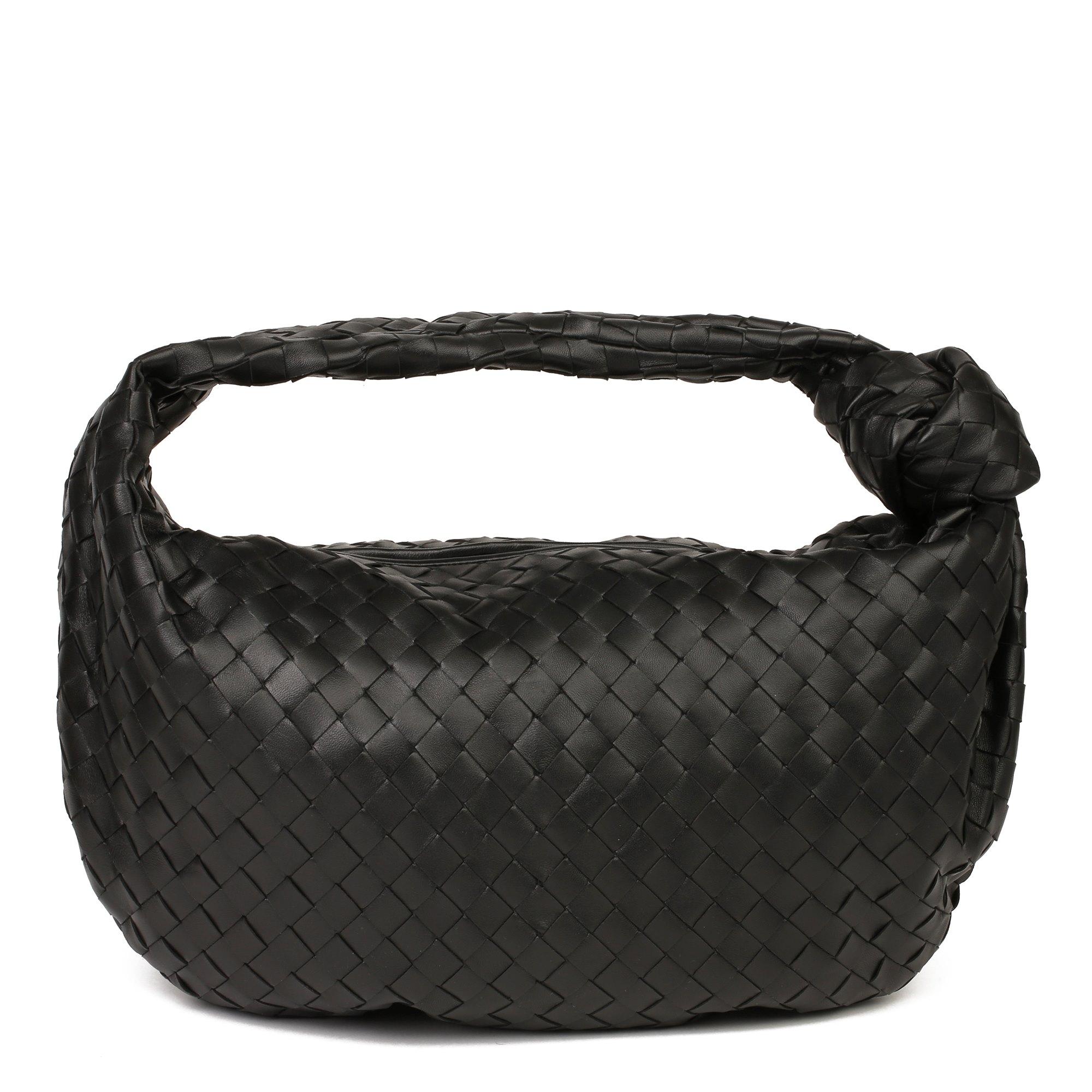 Bottega Veneta Black Intrecciato Woven Calfskin Leather The Small Jodie