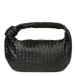 Bottega Veneta Black Intrecciato Woven Calfskin Leather The Small Jodie