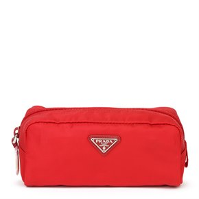 Prada Rosso Red Nylon Tessuto Necessaire Cosmetic Bag