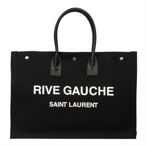 Saint Laurent Saint Laurent Black Canvas & Calfskin Leather Rive Gauche Tote