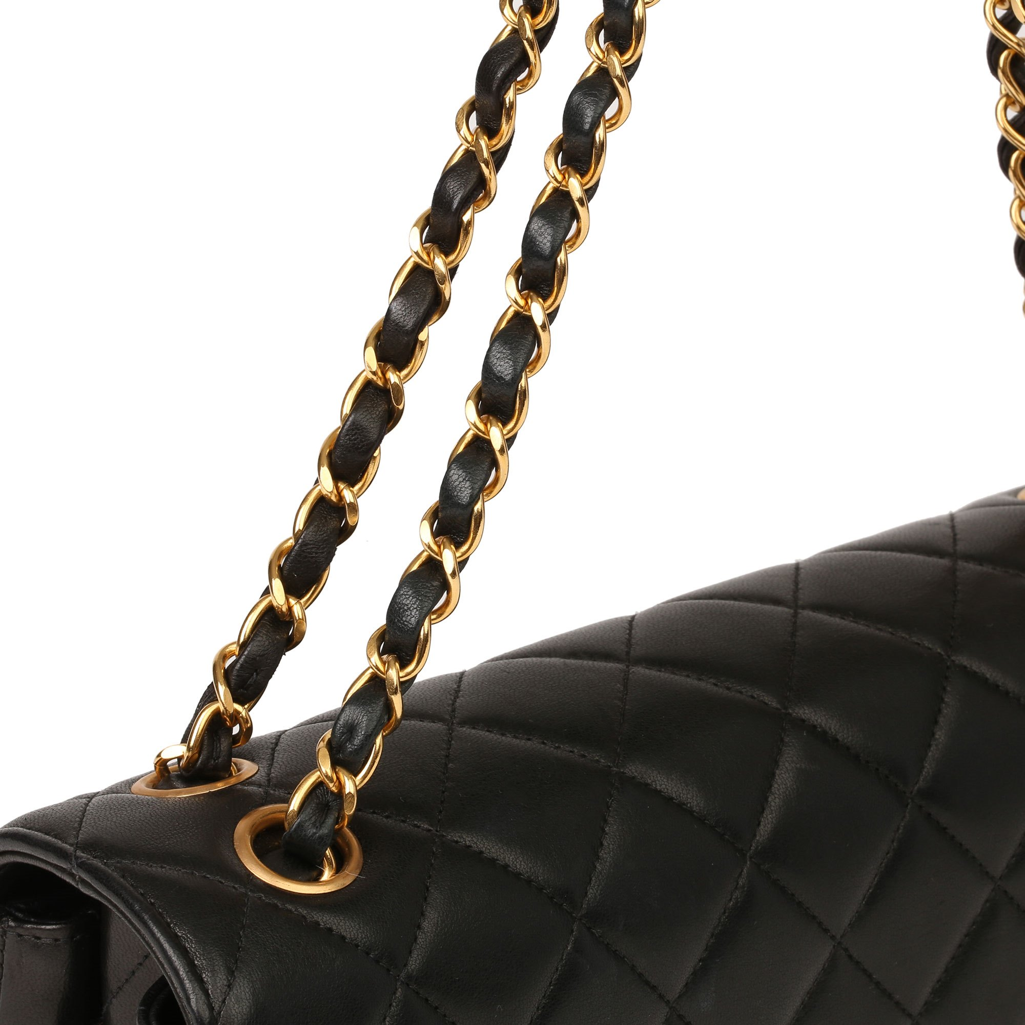 Chanel Black Quilted Lambskin Vintage Medium Double Sided Classic Flap Bag