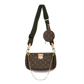 Louis Vuitton Brown Coated Canvas, Khaki Jacquard Multi Pochette Accessoires