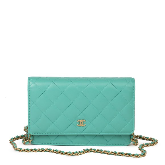 Chanel Turquoise Quilted Lambskin Wallet-on-Chain WOC