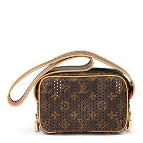 Louis Vuitton Brown Perforated Monogram Coated Canvas, Fuschia Mini Trocadero