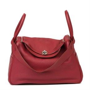 Hermès Rubis Clemence Leather Lindy 34cm