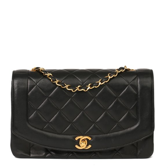 Chanel Black Quilted Lambskin Medium Diana Classic Single Flap Bag