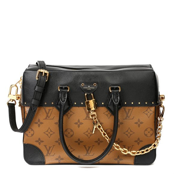 Louis Vuitton Brown Monogram Reverse Coated Canvas and Black Calfskin Leather City Malle