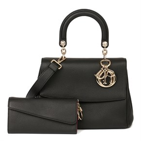 Christian Dior Black Grained Calfskin Leather Be Dior with Wallet-on-Chain