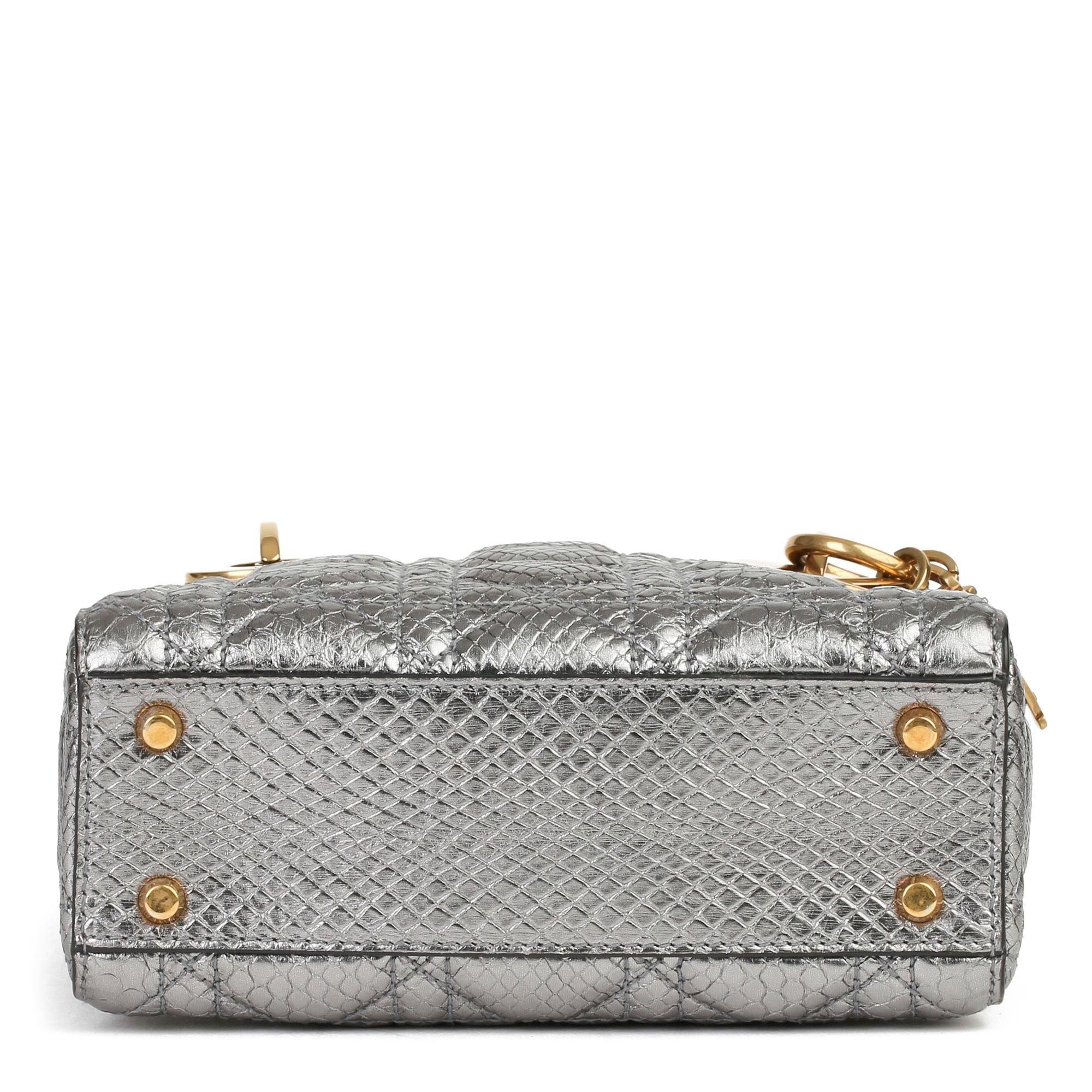Christian Dior Gunmetal Quilted Metallic Python Leather Mini Lady Dior
