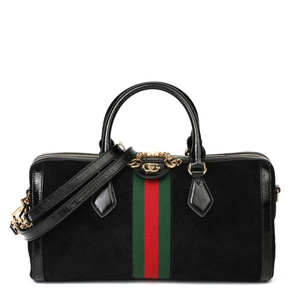 Gucci Black Aged Patent Calfskin Leather & Suede Webb Orphidia Top Handle Bag