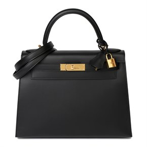 Hermès Black Sombrero Leather Kelly 28cm Sellier