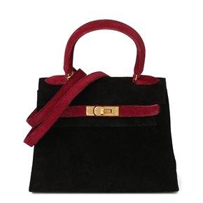 Hermès Framboise & Black Veau Doblis Suede Vintage Kelly 20cm Sellier