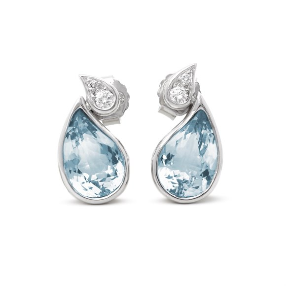 Boodles Aquamarine & Diamond Drop Earring