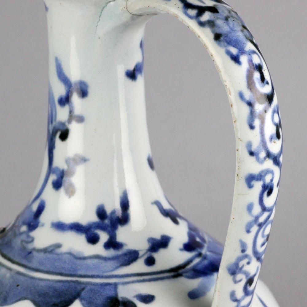 Rare Japanese Arita Imari Underglaze Blue Figural Jug Edo Period 17th C.
