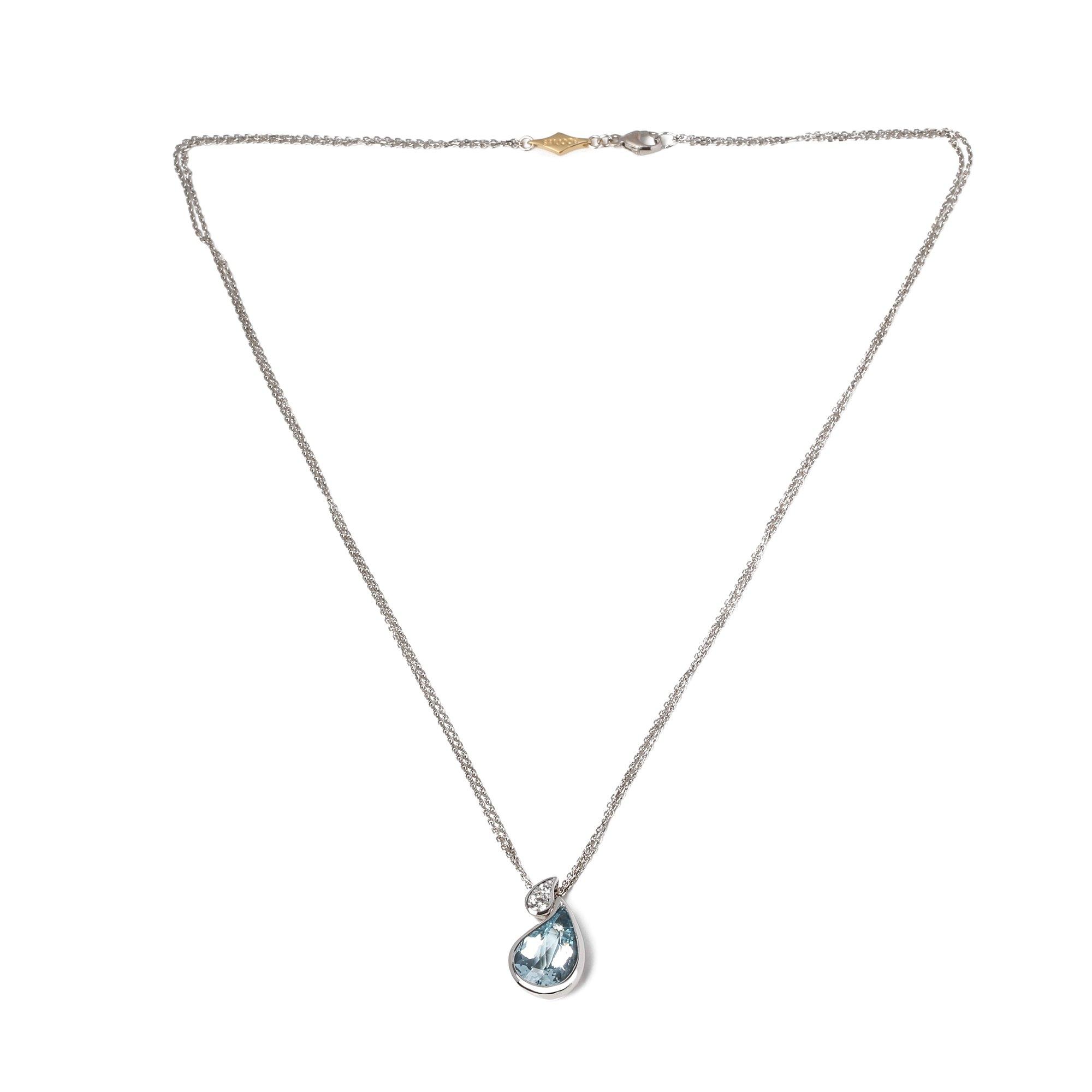 Boodles Aquamarine & Diamond Drop Pendant