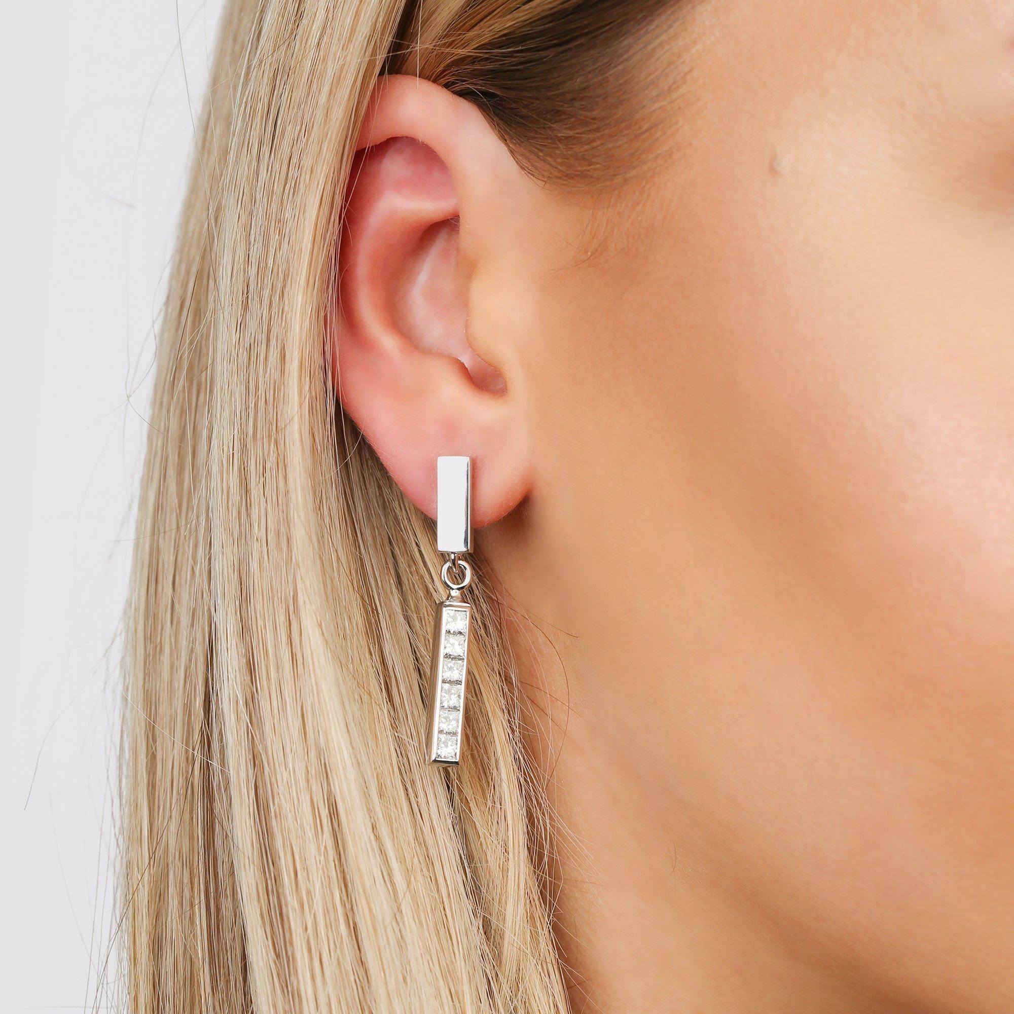 Theo Fennell Strip Princess Cut Diamond Interchangeable Earring Set
