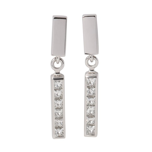 Theo Fennell Strip Princess Cut Diamond Interchangeable Earring Set
