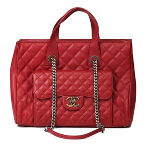 Chanel Burgunday Quilted Caviar Leather Timeless Shoulder Tote