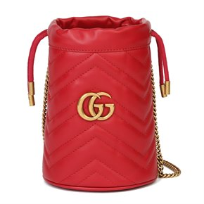 Gucci Red Quilted Calfskin Leather Mini Marmont Bucket Bag
