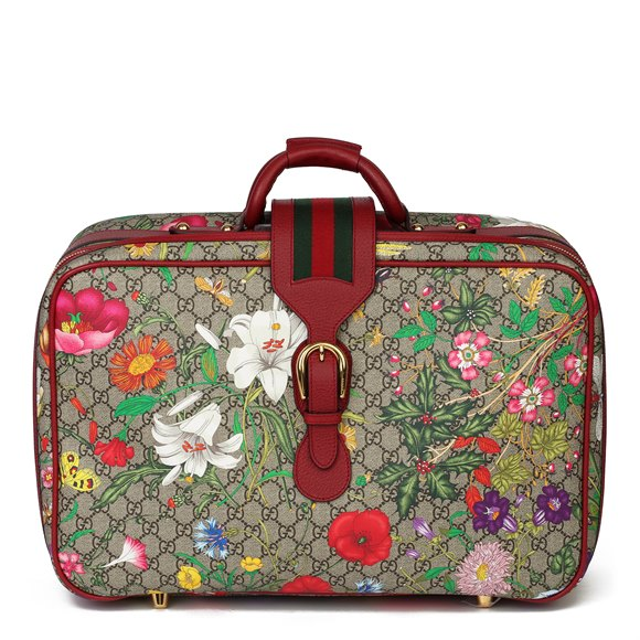 Gucci GG Flora Coated Canvas & Red Pigskin Leather Suitcase
