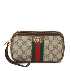 Gucci GG Supreme Canvas & Brown Pigksin Leather Web Ophidia Wristlet