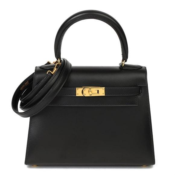 Hermès Black Box Calf Leather Vintage Kelly 20cm