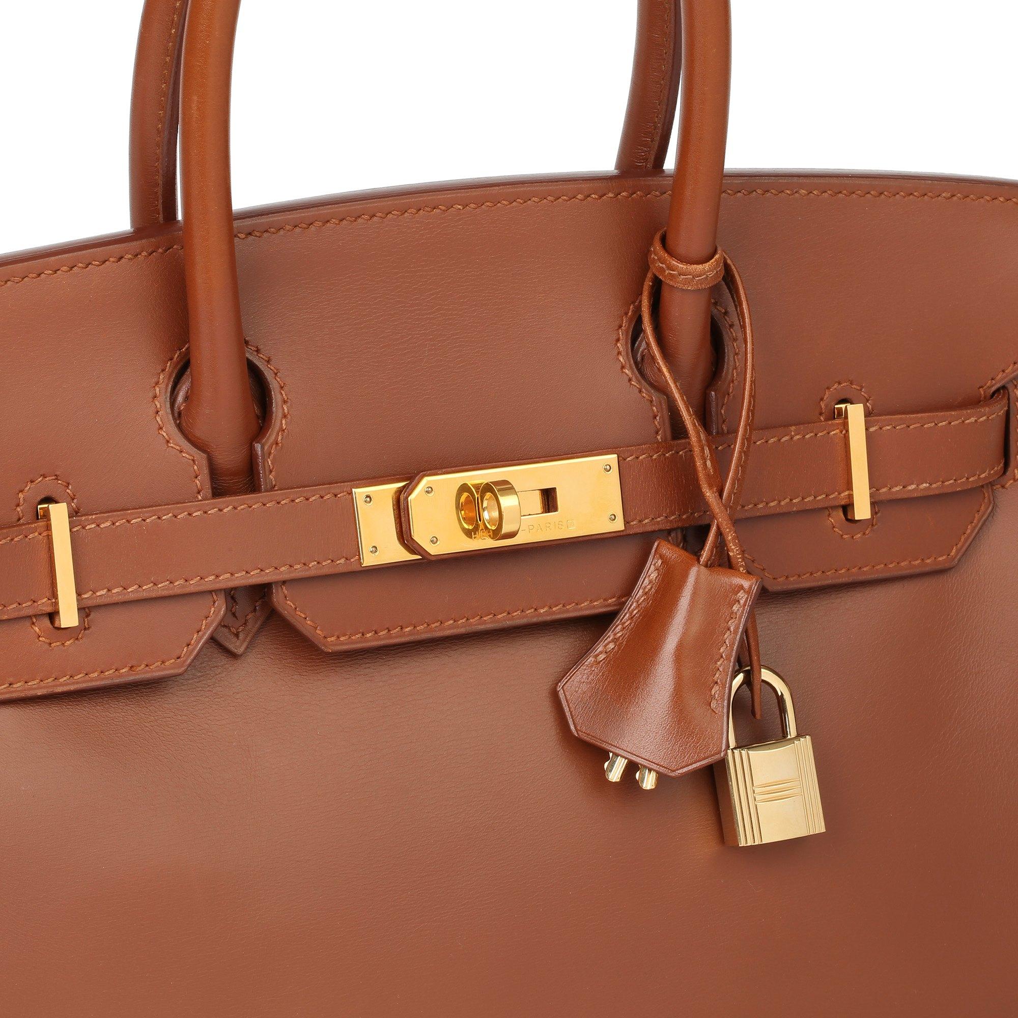 Hermès Fauve Box Calf Leather & Parchemin Verso Birkin 30cm Retourne