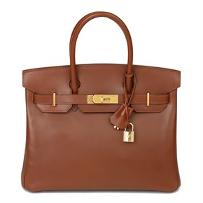 Hermès Fauve Box Calf Leather & Parchemin Verso Birkin 30cm