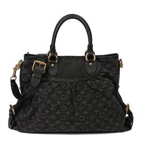 Louis Vuitton Black Monogram Denim & Black Calfskin Leather Neo Cabby GM Bag