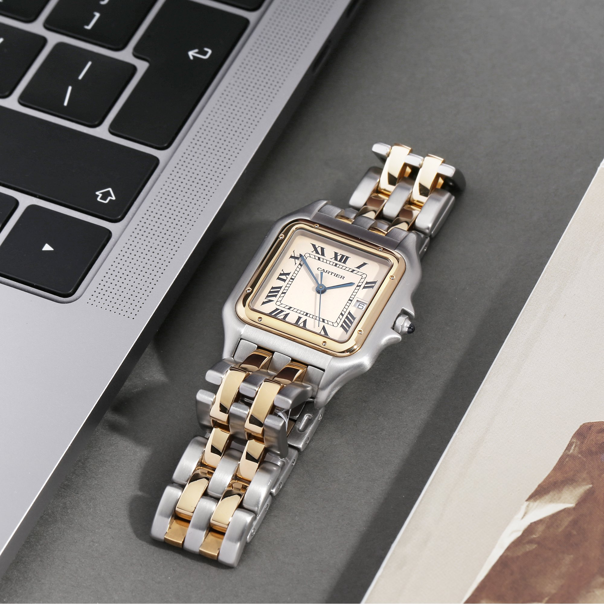 Cartier Panthère '2 Row' 18K Yellow Gold & Stainless Steel 187957