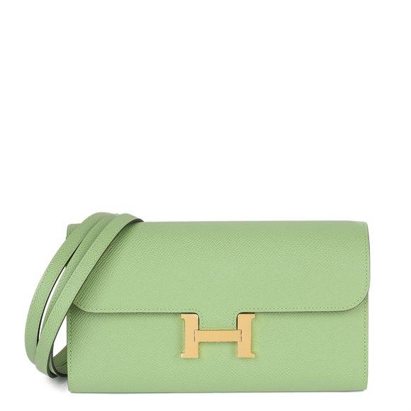 Hermès Vert Criquet Epsom Leather Constance To Go Long Wallet