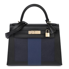 Hermès Black Epsom, Bleu Saphir Chevre & Blue de Malte Clemence Leather 'Letter T' HSS Special Order Kelly 28cm Sellier
