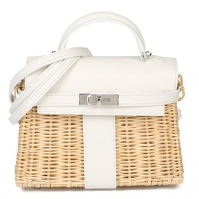 Hermès White Swift Leather & Woven Osier Whicker Mini Kelly Picnic