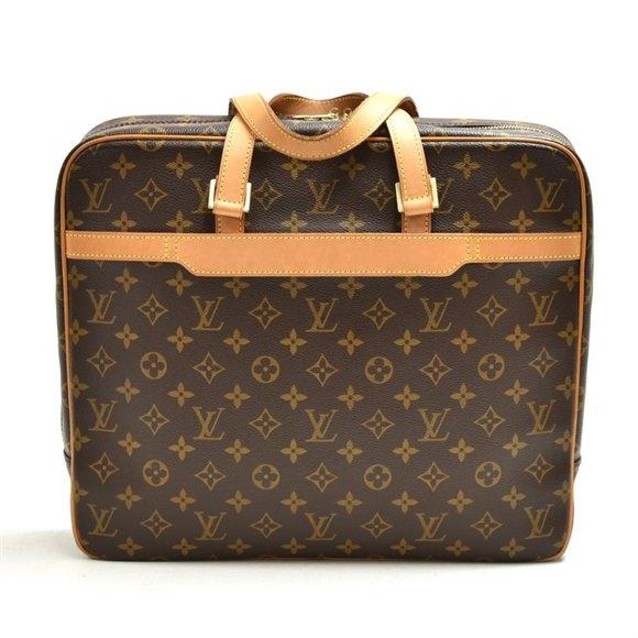 Louis Vuitton Brown Monogram Coated Canvas & Vachetta Leather Porte Documents Voyage 2 Poches