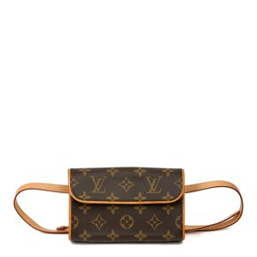 Louis Vuitton Brown Monogram Coated Canvas & Vachetta Leather Florentine Belt Bag