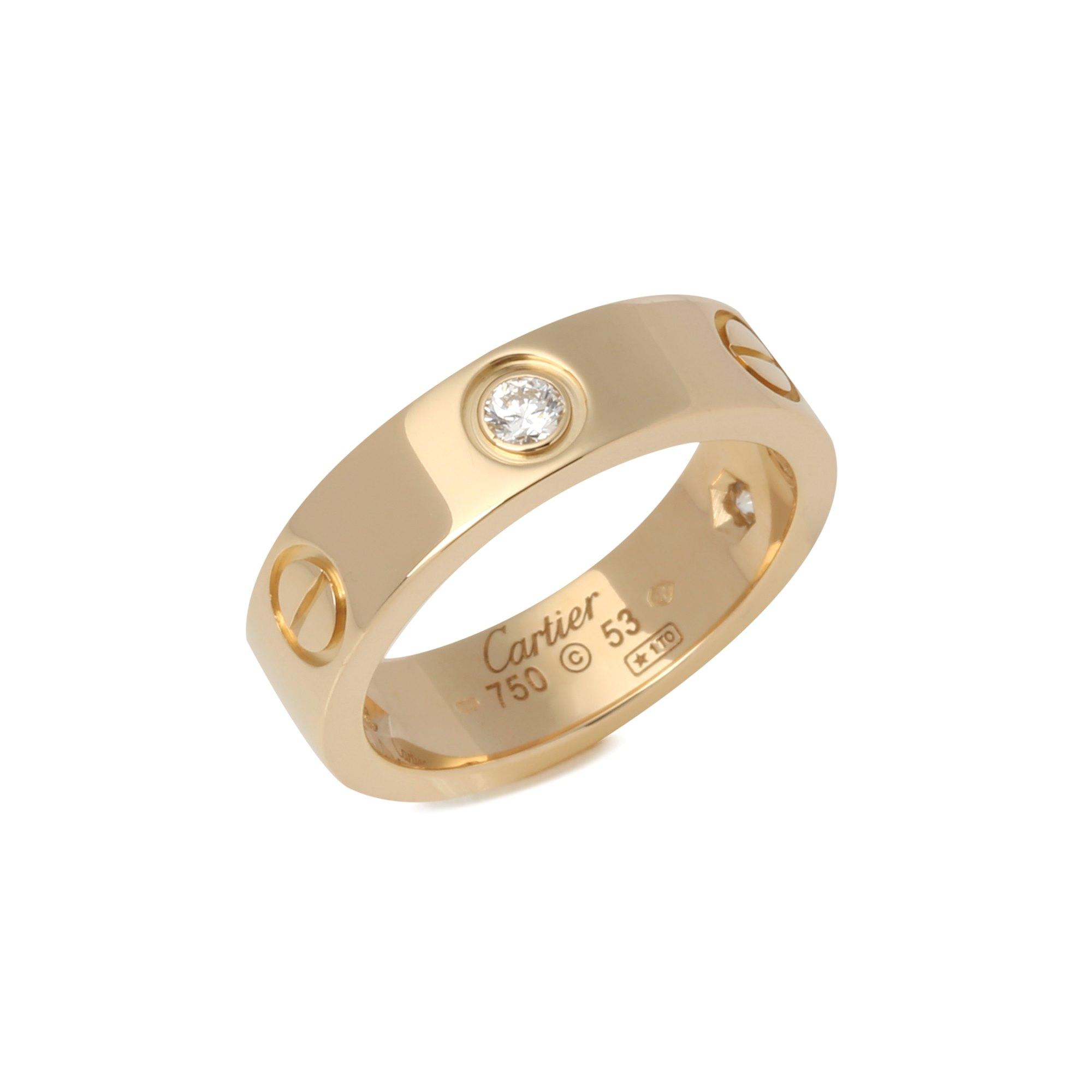 Cartier Yellow Gold 3 Diamond Love Ring