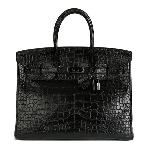 Hermès Black Matte Alligator Leather SO Black Birkin 35cm Retourne