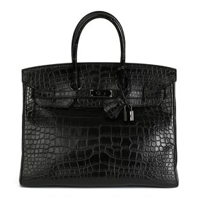 Hermès Black Matte Alligator Leather SO Black Birkin 35cm