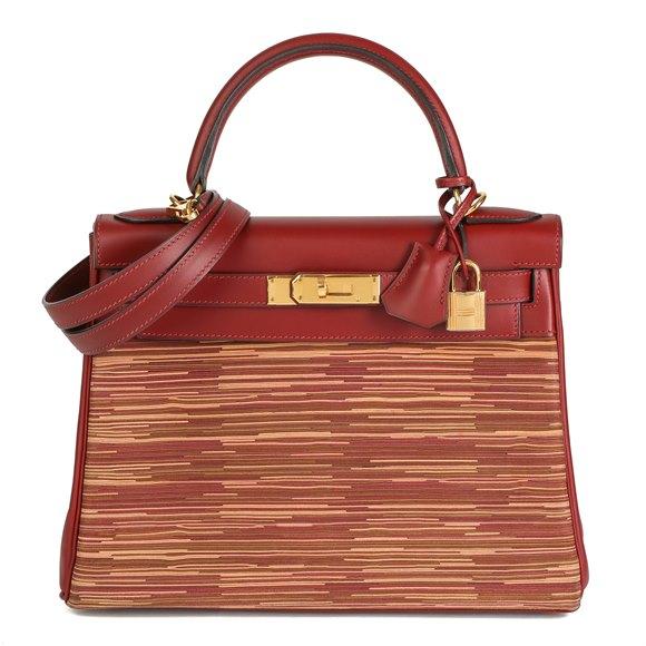 Hermès Rouge H Box Calf Leather Vibrato Kelly 28cm Retourne
