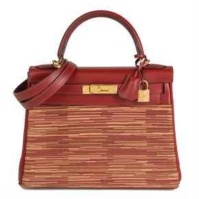 Hermès Rouge H Box Calf Leather Vibrato Kelly 28cm Retourne