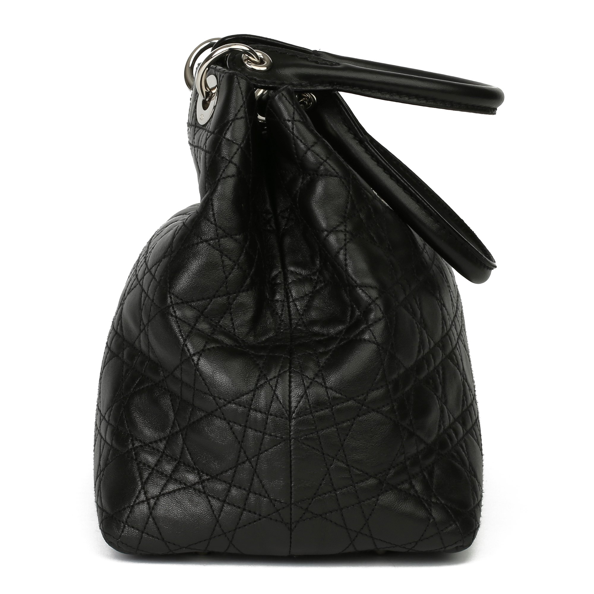 Christian Dior Black Quilted Lambskin Leather Lady Dior Tote