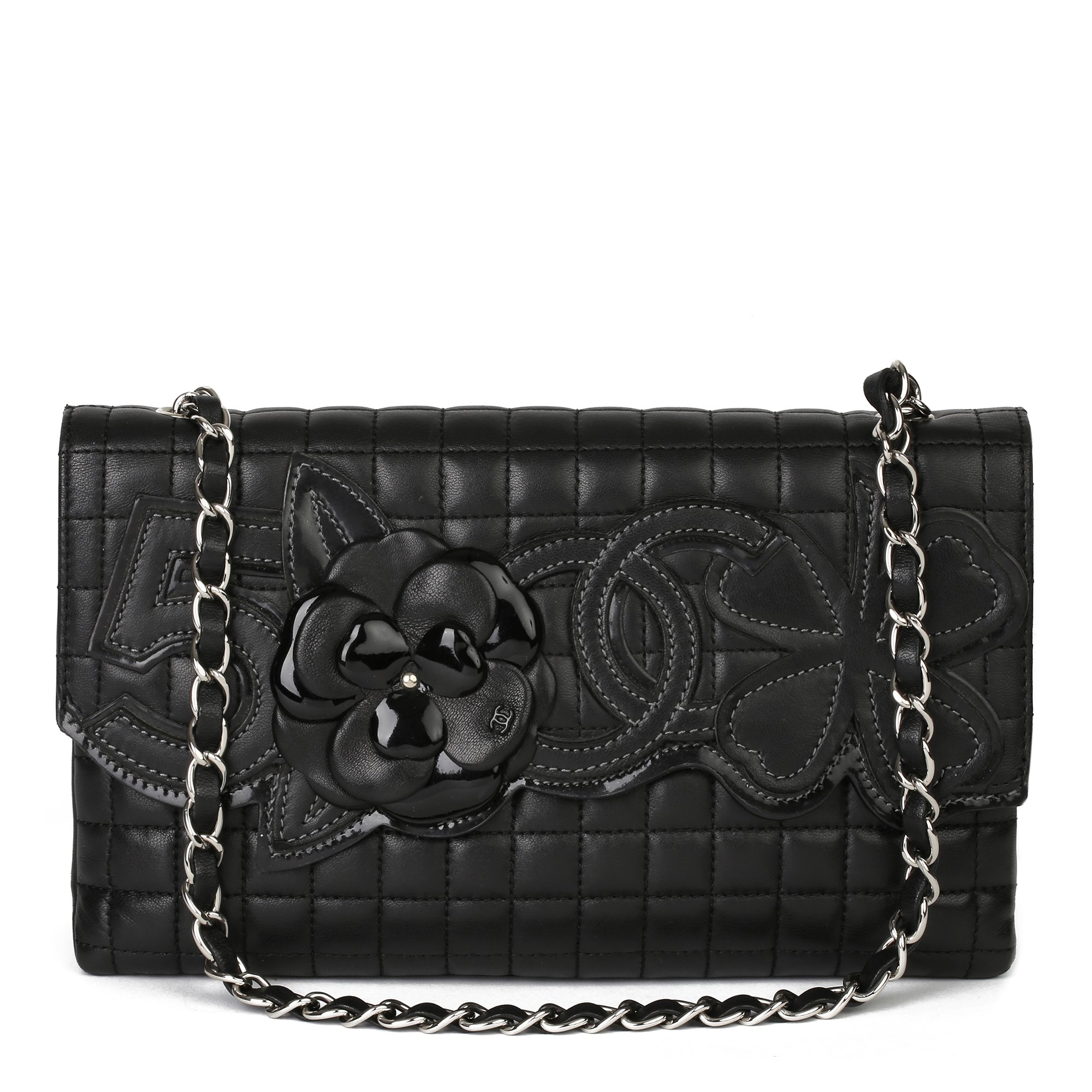Chanel Black Chocolate Bar Quilted Lambskin & Patent Leather No. 5 Camellia Flap Bag