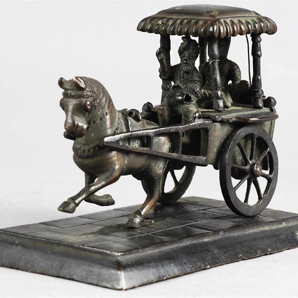 Antique Indian Bronze Figural Sculpture Of Horse Drawn Carriage 19th C.