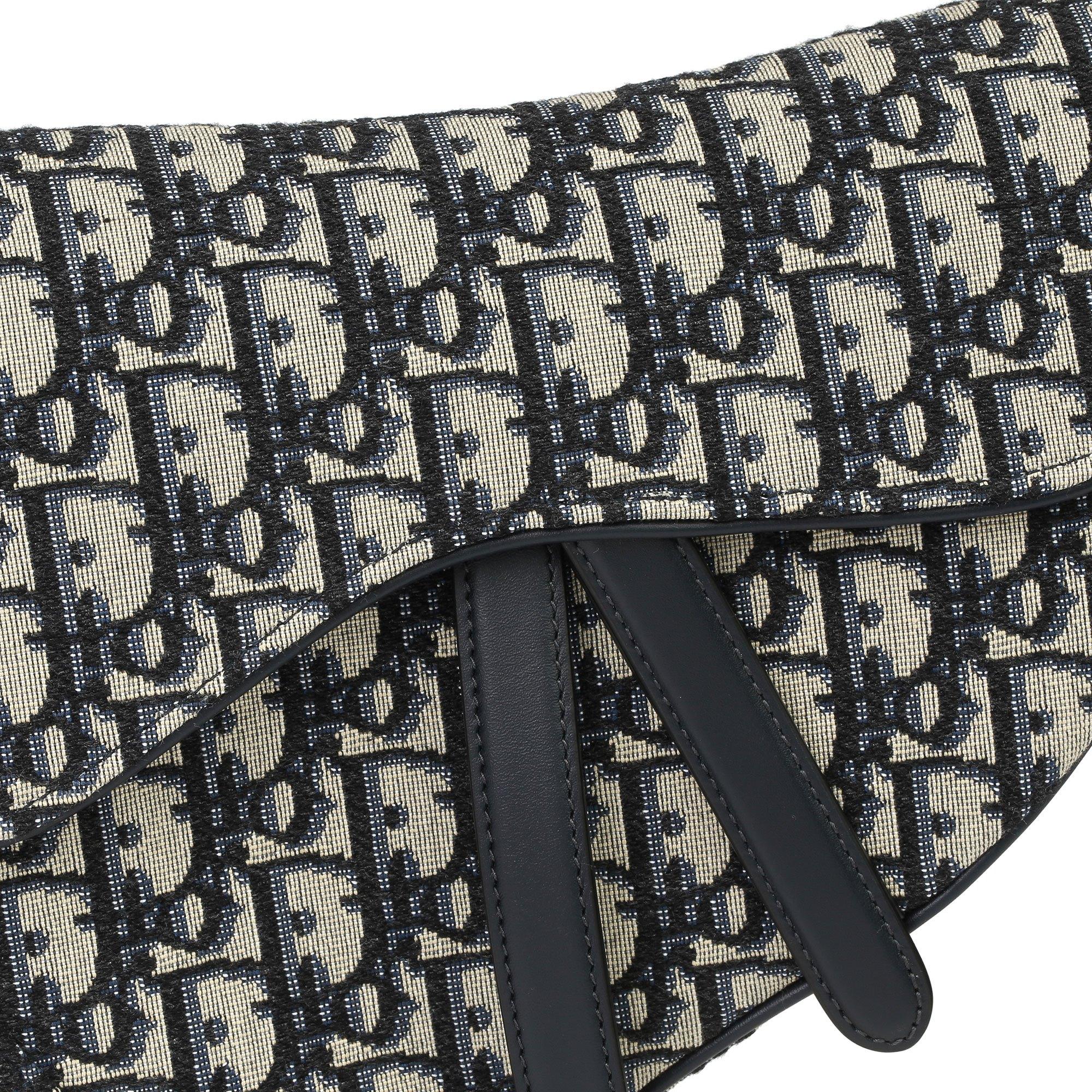 Christian Dior Blue Monogram Oblique Canvas & Calfskin Leather Saddle Bag with Shoulder Strap