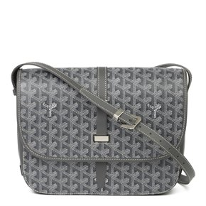 Goyard Grey Chevron Coated Canvas & Calfskin Belvedere II MM