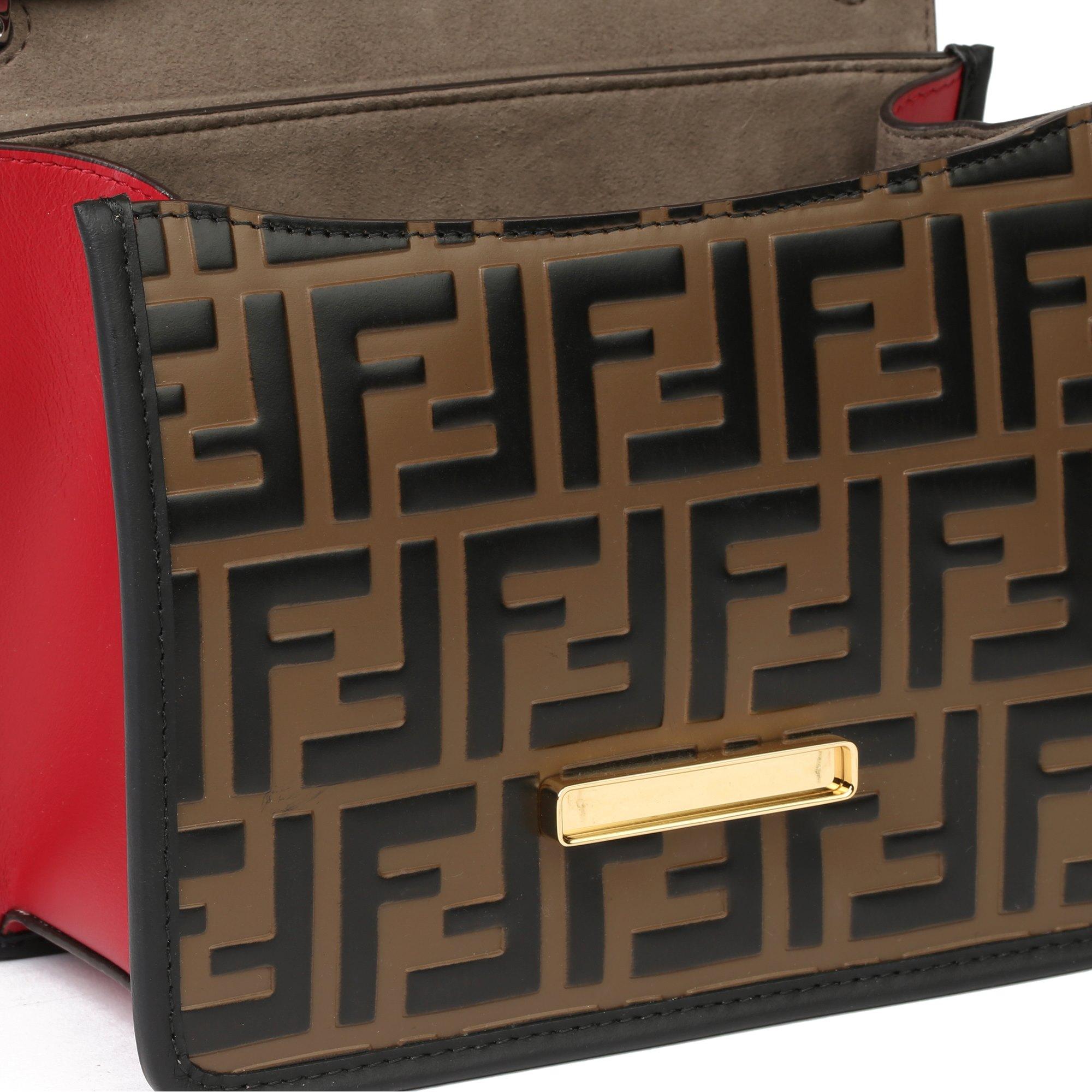Fendi Red, Brown & Black Smooth Calfskin Leather Kan I