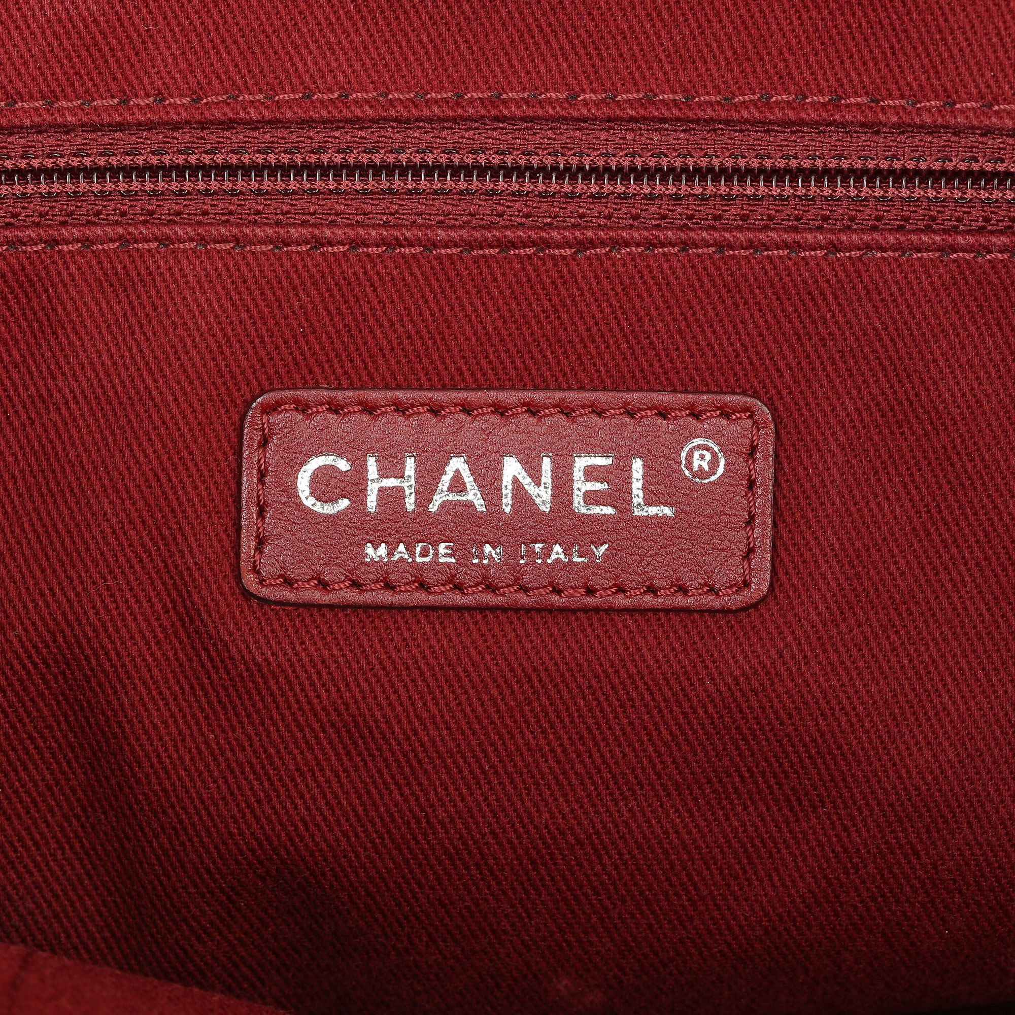 Chanel Red Canvas & Calfskin Leather Small Deauville Tote