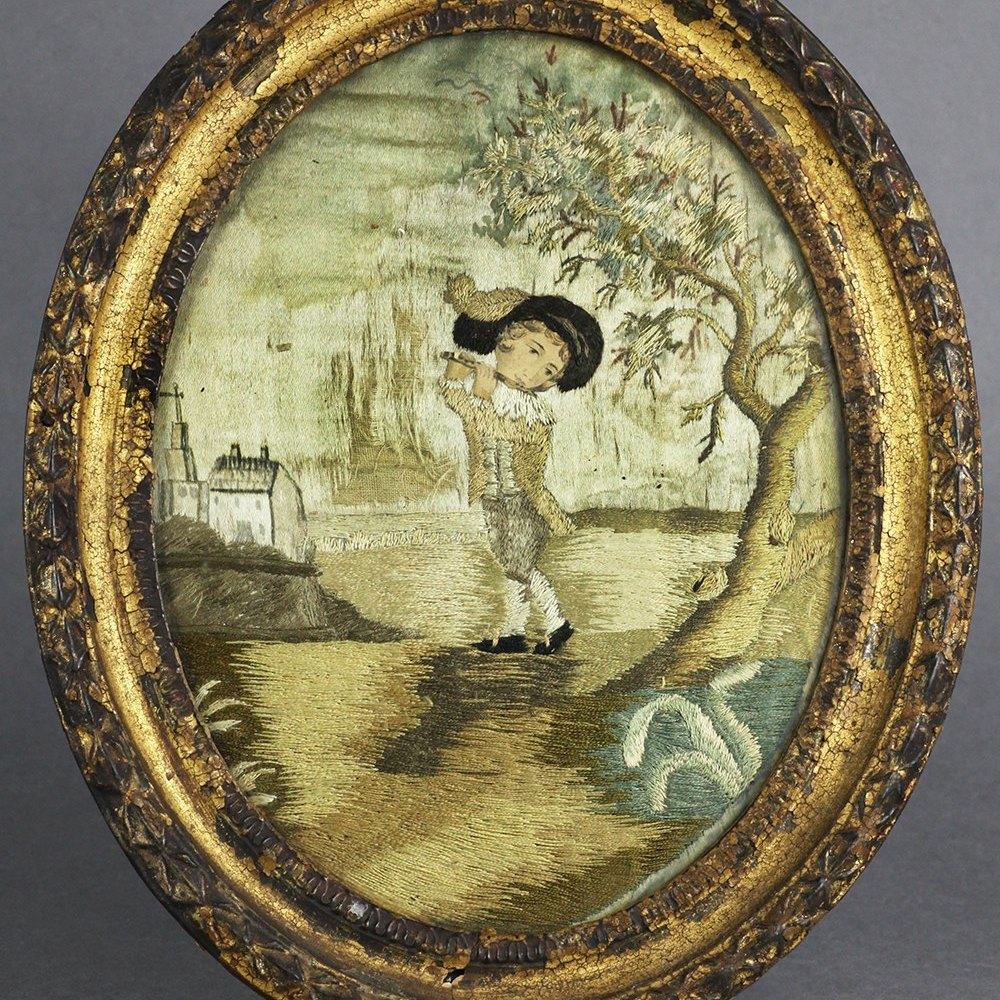 GEORGIAN FRAMED SILKWORK Latter 18th Century
