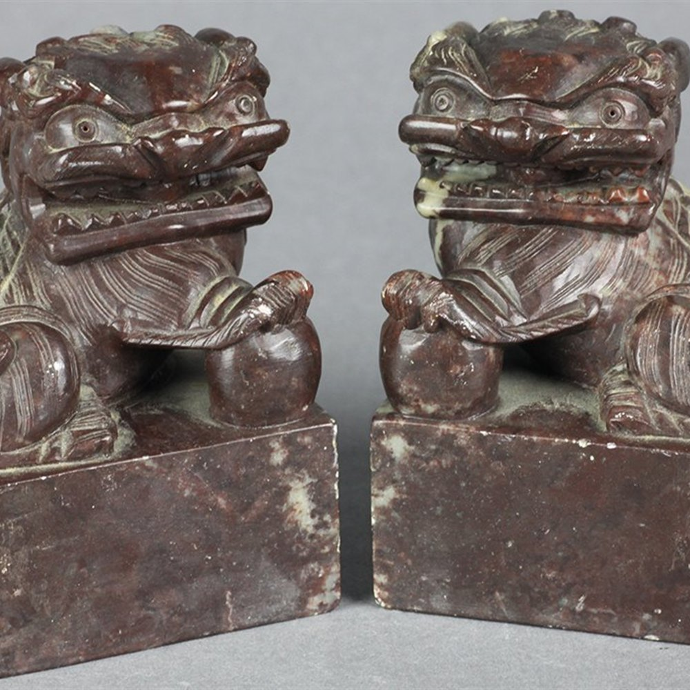 Fine Pair Antique Chinese Carved Soap Stone Lion Dog Seals 19th C.
